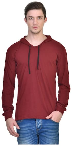 Urbano Fashion Men's Maroon Full Sleeve Hooded T-Shirt