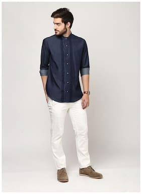 URBANTAGA Men Blue Embroidered Slim Fit Casual Shirt