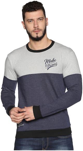 Urgear Men Navy Blue Fleece Colourblocked Sweatshirt