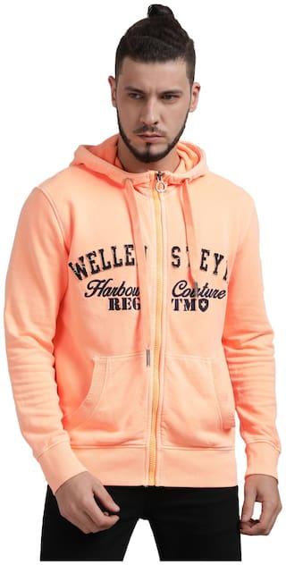Urgear Men Orange Hooded Hoodie