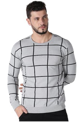 Urgear Men Grey Regular fit Cotton Round Neck T-Shirt