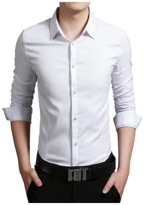 US PEPPER Men Slim fit Formal Shirt - White