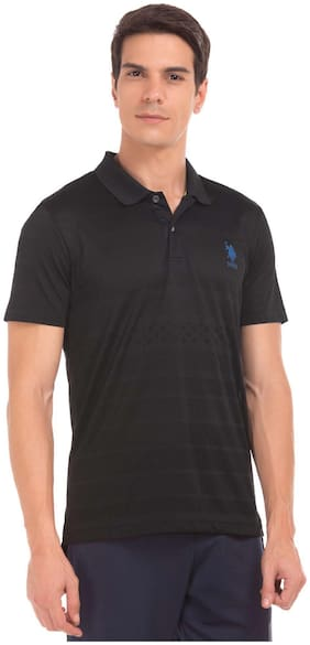 Men Polo Collar Self Design T-Shirt