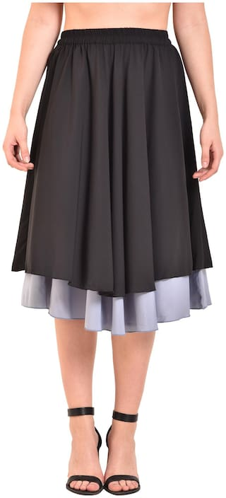 UVR Solid Straight skirt Midi Skirt - Black