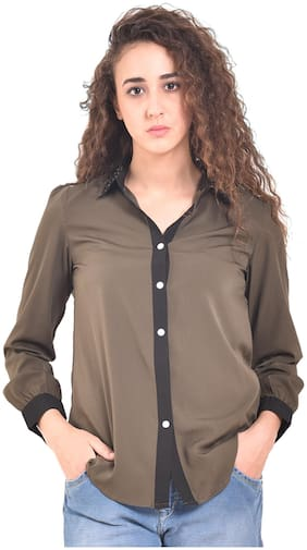 UVR Women Regular fit Solid Shirt - Green