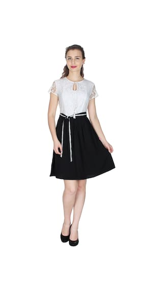 UVR White and Black solid DRESS