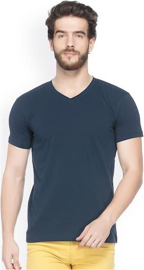 JORKK Men Regular fit V neck Solid T-Shirt - Navy blue