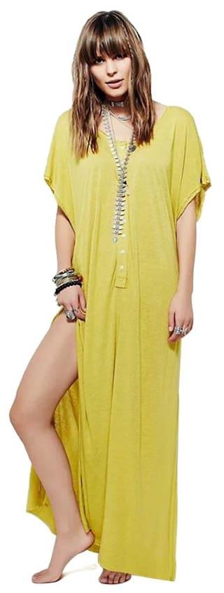 V-Neck Sleeve Irregular Hem Maxi Beach Dress #LL Store
