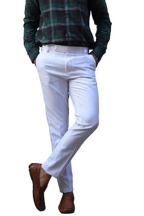 V POSH Men Solid Regular Fit Formal Trouser - White