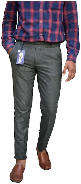 V POSH Men Solid Regular Fit Formal Trouser - Grey