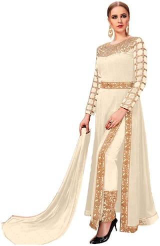 V & V shop Women Faux Georgette Embroidered Work Semi Stitched Dress Material (Cream)