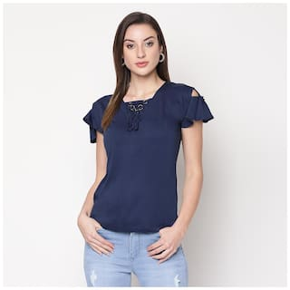 V2 Women Solid Regular top - Blue