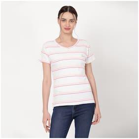 Women Striped V Neck Top