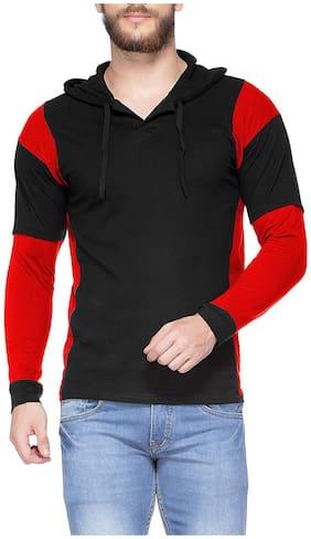 V3squared Men Black Regular fit Cotton Hood T-Shirt - Pack Of 1