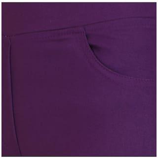 Lycra Cotton Purple Jeggings Solid Vaijyanti 5BxwXqfa