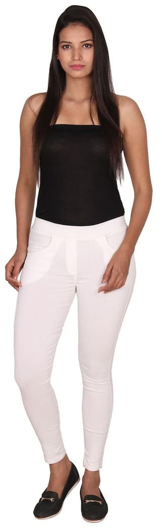 Vaijyanti Cotton Lycra White Solid Jeggings