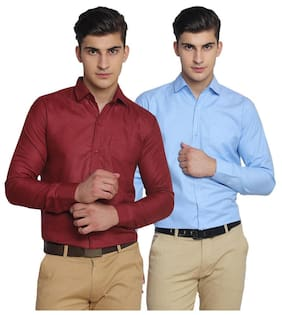 VAN GALIS FASHION WEAR Red And sky blue FULL SLEEVES COTTON SHIRT FOR MENS - PACK OF 2