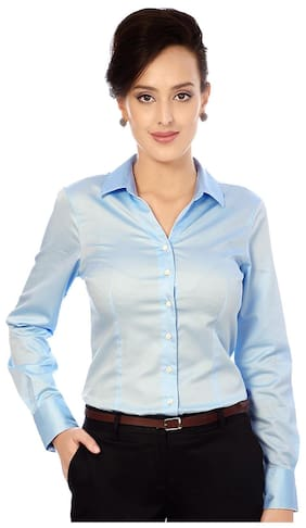e9417348ef4 Van Heusen Blue Cotton Regular Fit Formal Shirt