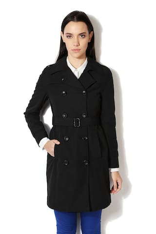 a4283dba1e2 Buy Van Heusen Women Embroidered Regular Fit Coat - Black Online at ...