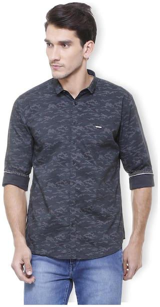 Van Heusen Men Blue Printed Slim Fit Casual Shirt