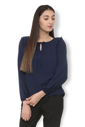 Van Heusen Women Polyester Solid - A-line Top Blue