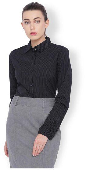 Van Heusen Women Slim Fit Solid Shirt - Black