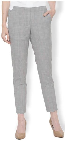 Van Heusen Women Regular fit Mid rise Checked Regular trousers - Grey