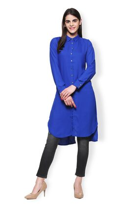 Van Heusen Women Polyester Solid - Regular Tunic Blue