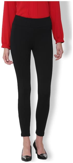 Van Heusen Women Regular fit Mid rise Solid Regular trousers - Black