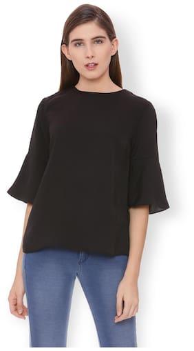 Van Heusen Women Cotton Printed - A-line Top Black