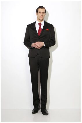 Van Heusen Men Polyester Slim Fit Suit - Black