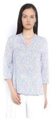 Van Heusen Women Cotton Floral - A-line Top Blue