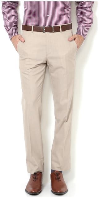 Van Heusen Blended Slim Beige Formal Trouser