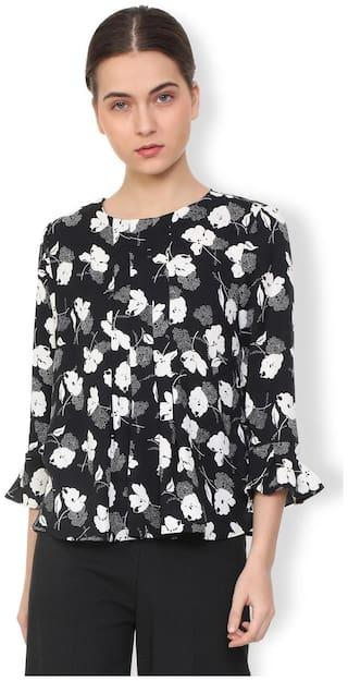 Van Heusen Women Polyester Printed - A-line top Black