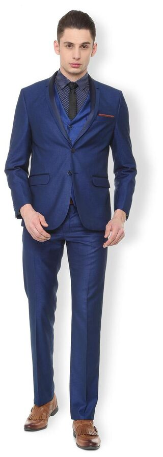 Van Heusen Men Blended Slim Fit Suit - Blue