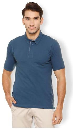 2b494b79c4b33 Van Heusen Men Regular Fit Polo Neck Self Design T-Shirt - Blue