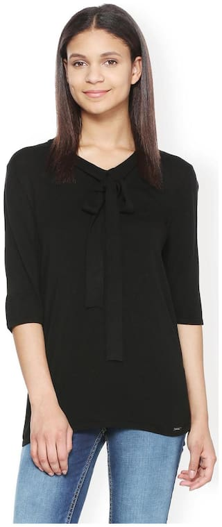 Van Heusen Women Polyester Solid - A-line top Black