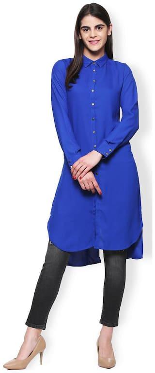 Van Heusen Women Polyester Solid - Regular tunic Blue