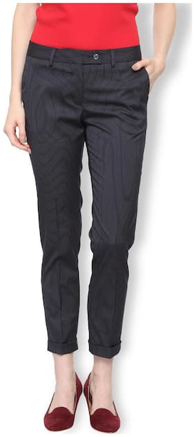 Van Heusen Women Regular fit Mid rise Striped Regular trousers - Blue