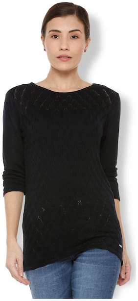Van Heusen Women Viscose Solid - A-line Top Black