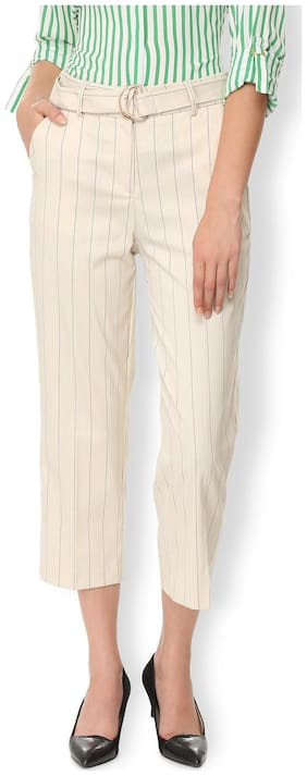 Van Heusen Women Regular fit Mid rise Striped Regular trousers - Beige