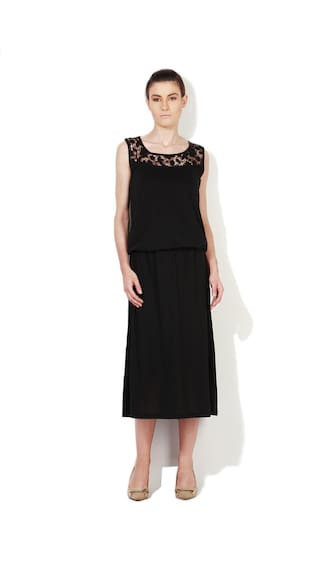 Van Heusen Black Polyester Casual Dress