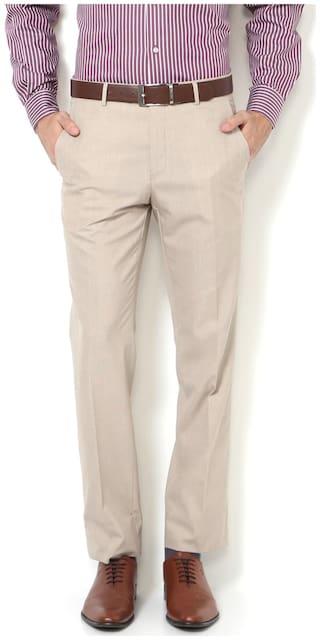Van Heusen Men Solid Slim Fit Formal Trouser - Beige