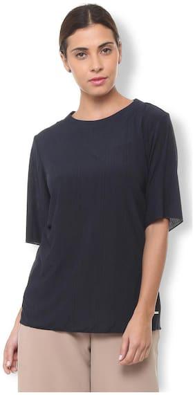 Van Heusen Women Polyester Solid - Regular Top Blue