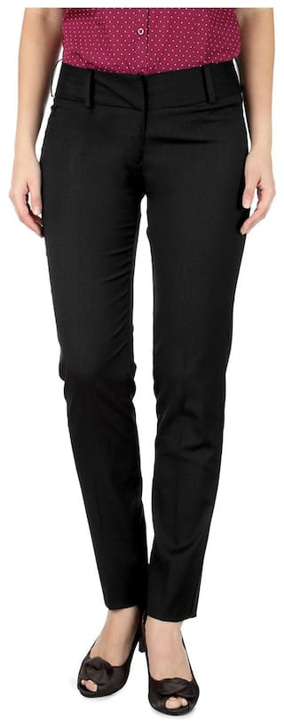 Van Heusen Black Cotton Slim Fit Formal Trouser