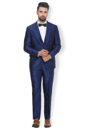 Van Heusen Men Blended Slim Fit Suit - Blue