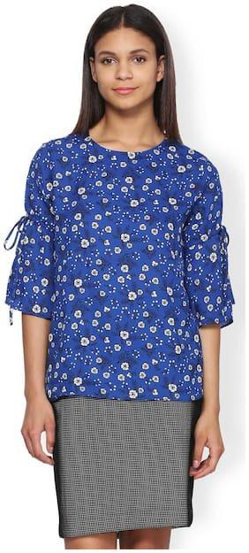 Van Heusen Women Polyester Printed - A-line Top Blue