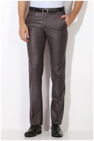 Van Heusen Men Solid Slim Fit Formal Trouser - Brown