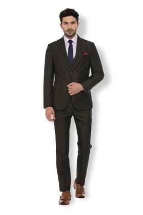 Van Heusen Men Blended Slim Fit Suit - Black