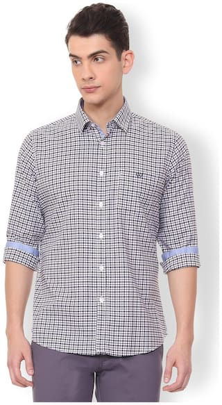 3bfbd937 Buy Van Heusen Men Slim Fit Casual shirt - Blue Online at Low Prices ...